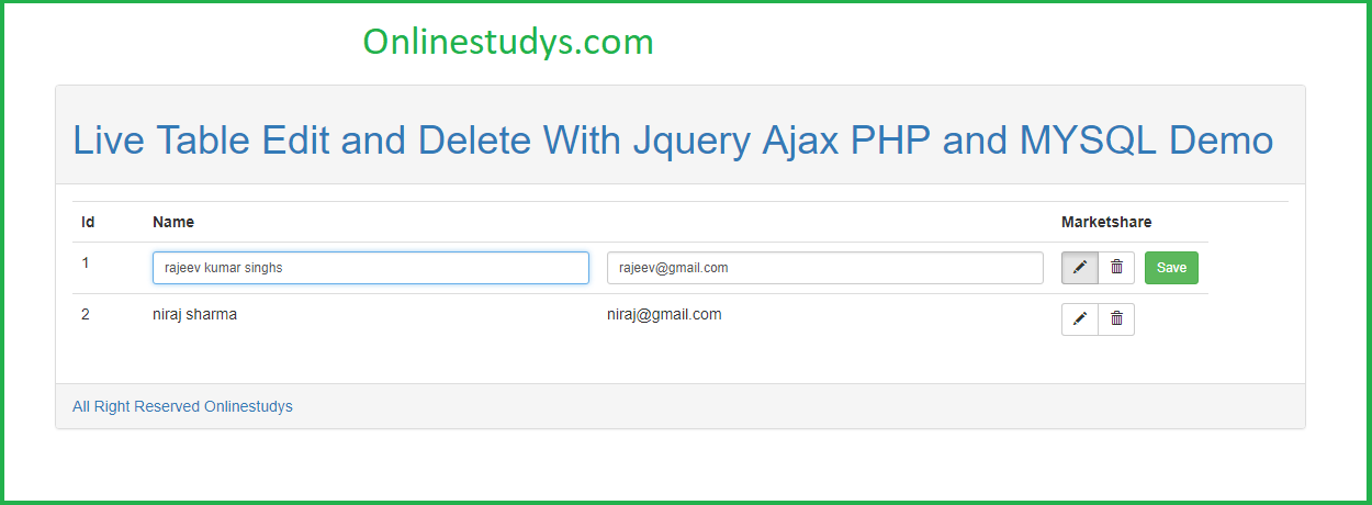 Live Table Edit and Delete With Jquery Ajax PHP and MYSQL With Demo